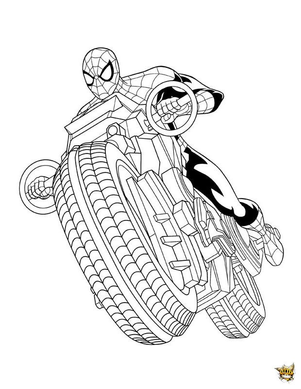 Spiderman moto est un coloriage de ultimate spiderman - Spider man en dessin ...