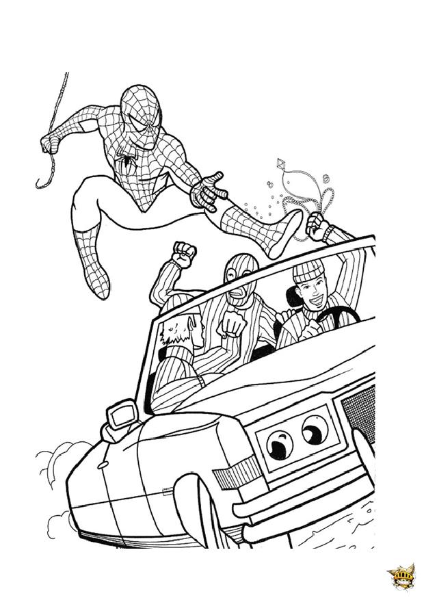 Spiderman voiture est un coloriage de spiderman - Spiderman voiture ...