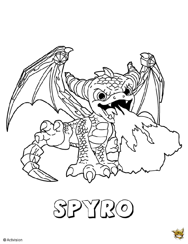 skylander giants coloring pages - spyro est un coloriage de skylanders