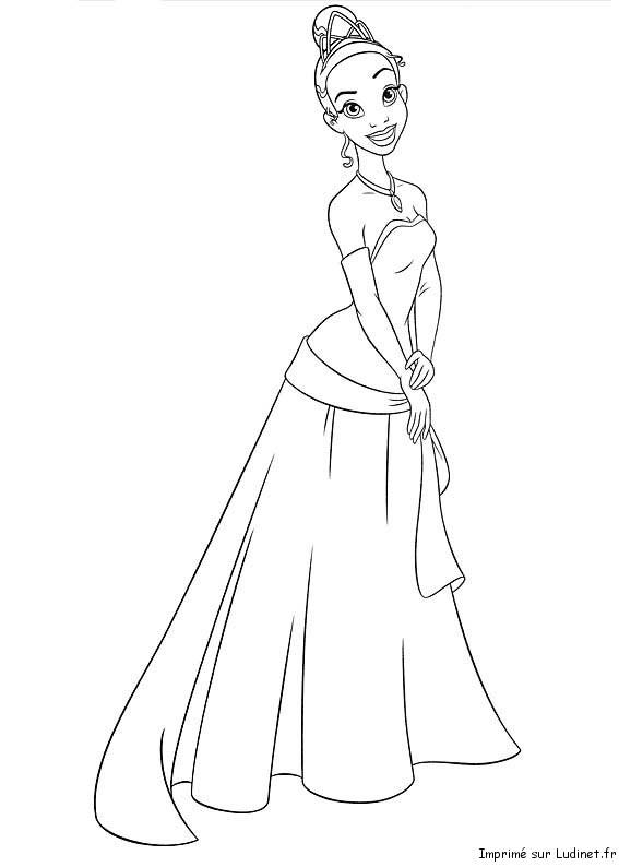 Tiana en robe est un coloriage de la princesse et la - Coloriage robe de princesse ...