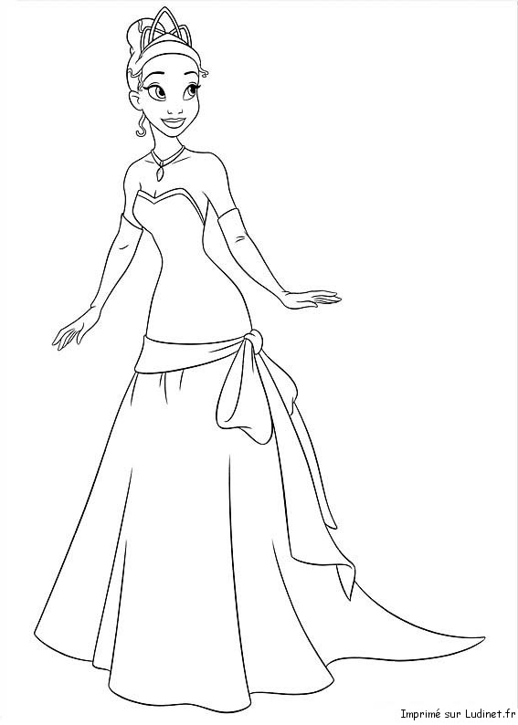 Tiana Simple Est Un Coloriage De La Princesse Et La Grenouille