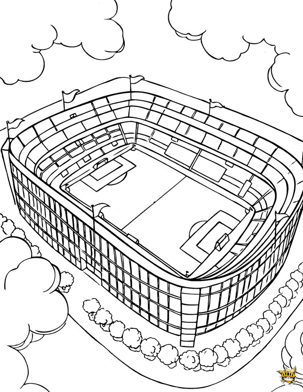 Coloriage Terrain De Foot.Coloriage Stade De Football A Imprimer
