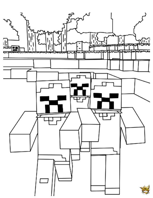 Une Horde De Zombies Est Un Coloriage De Minecraft