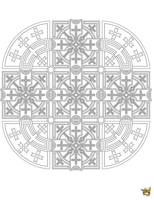 Coloriage vitrail croix mandala - Vitraux a colorier ...