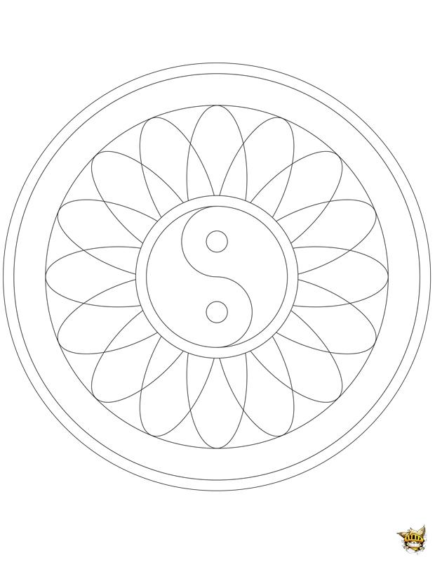 Coloriage : Yin Yang fleurs Mandala