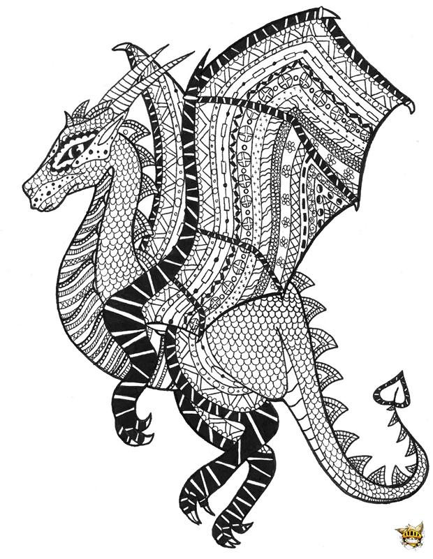 Coloriage Zentangle Dragon Pour Adultes