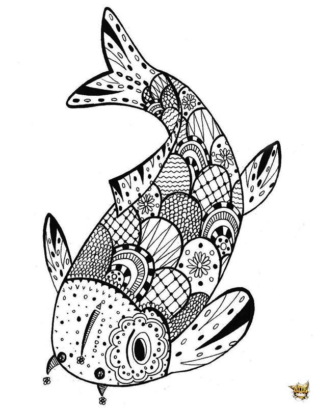 Coloriage Zentangle Poisson Pour Adultes