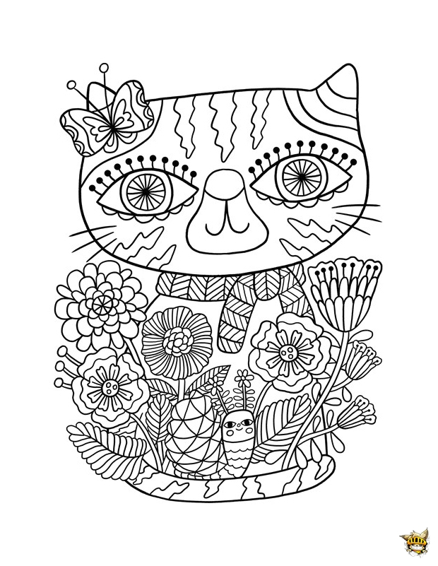 Coloriage Yeux Chat.Coloriage Zentangle Yeux Chat Pour Adultes